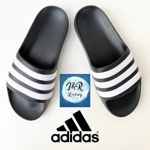 Adidas Womens Adilette Aqua Black Slide Sandal